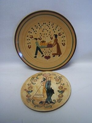 "Folk Art Lot of 2 Pennsbury Pottery Decorative Plates ""Harvest"" & ""Boy and Girl"""