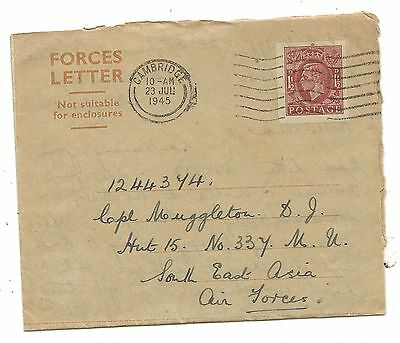 WW2 KGVI FORCES LETTER 1945 No.337 MU RAF Madras from Cambridge