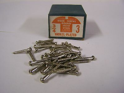 """#3 x 3/4"""" Nickel Plated Wood Screws Round Head Slotted Made in USA  Qty. 125"""