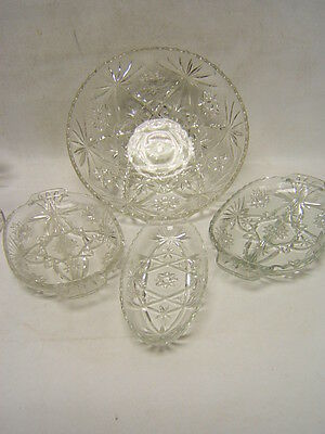 Anchor Hocking Lot of 4 Early American Prescut Serving Dishes Divided Tray Bowl