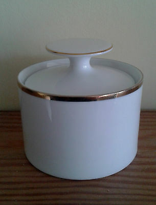Vintage Thomas Germany wide band gold sugar bowl with lid vgc