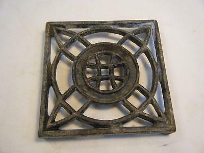 "Vintage Cast Iron Trivet Celtic Cross? 4 1/4"" Square"