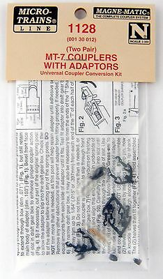 N Scale MT-7 Short T Shank Couplers w/Adapters - 2 Pair - Micro-Train Line #1128