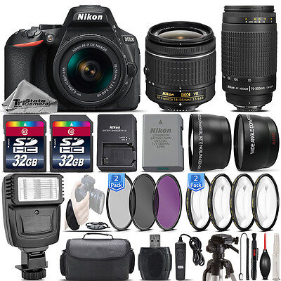 Nikon D5600 24.2MP DSLR Camera + 18-55mm VR Lens + Nikon 70-300mm Lens- 64GB Kit
