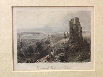 c1840 ANTIQUE PRINT - GREENWICH PARK & PALACE - OLD LONDON IN THE BACKGROUND