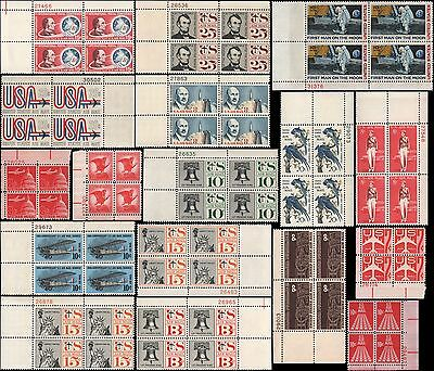 US #C57//C76 MNH 1960's airmail decade year set of 17 plate blocks