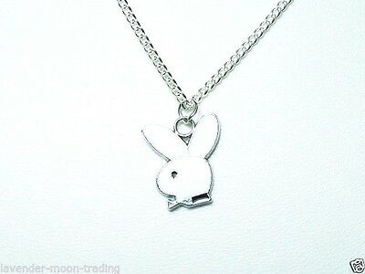 "PLAYBOY BUNNY PENDANT/NECKLACE with silver plated 18"" CHAIN/gift"