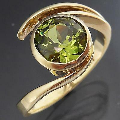 Bright Green Natural 1.5ct SAPPHIRE 9k Solid Yellow GOLD SOLITAIRE RING Sz M1/2