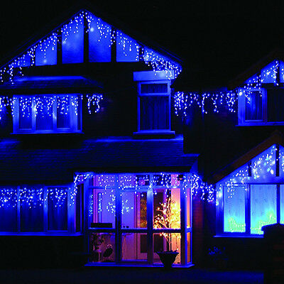 164 ft linkable outdoor led christmas xmas icicle lights with dark green wire