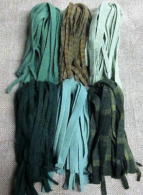 HEALTHY GREENS  150 hand & mill dyed  #8 Primitive Rug Hooking Cut Wool Strips