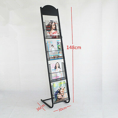 Multi-Layers Magazine Stands Brochure Holder Rack Display Office Home BLK