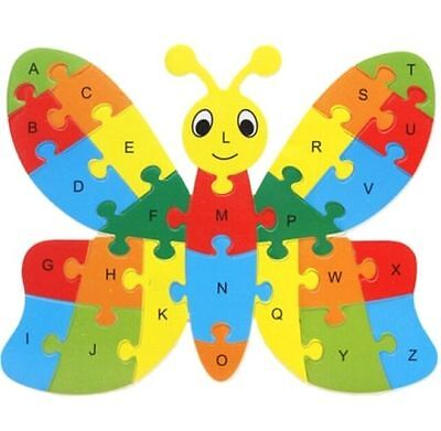 Wooden Blocks Kid Child Educational Alphabet Puzzle Jigsaw Toy ~Butterfly ☆