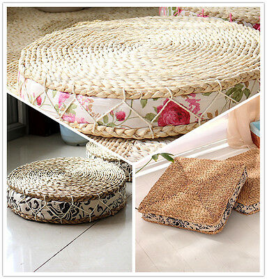 Handcrafted Breathable Padded Knitted Straw Flat Seat Cushion Japanese Style