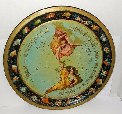 """Antique Tin Litho 1901 Pan-American Expostion Buffalo N.Y. Serving Tray,12"""" RARE"""
