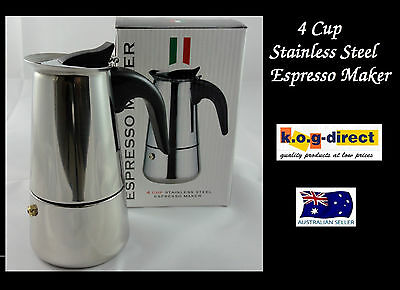 4 Cup Espresso Coffee  Percolator Stainless Steel Best Short Black Coffee Maker