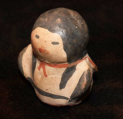 "Excellent Early Cochiti Rotund Polychrome Pottery Miniature Figure 2 3/8""h x 2""d"