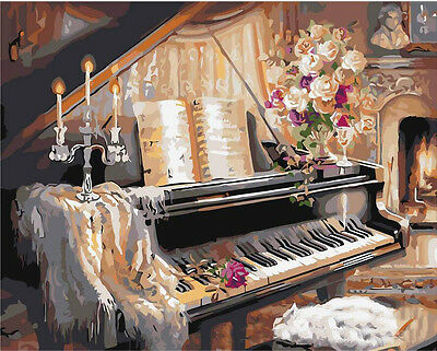 "16x20"" DIY Paint By Number  Kit Oil Painting On Canvas Piano"