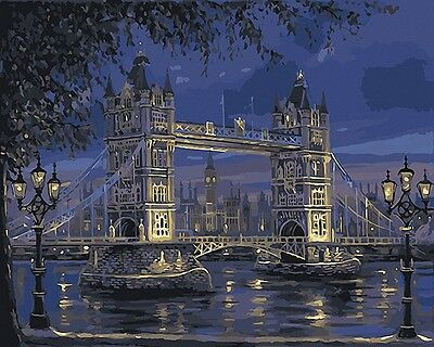 """16x20"""" DIY Paint By Number Kit Acrylic Oil Painting On Canvas Night Bridge 398"""