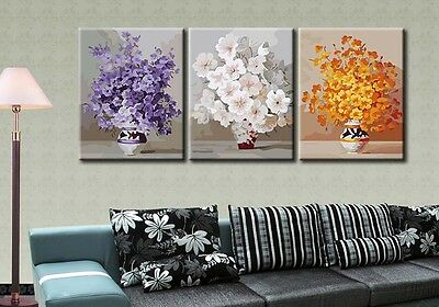 """16x20"""" DIY Home Decor Acrylic Paint By Number Kit Three Parts Flowers Vases 553"""