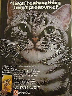Meow Mix Cat Food, 1986, Full Page Vintage Print Ad