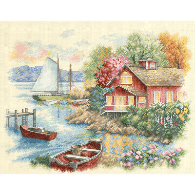 """""""Peaceful Lake House Counted Cross Stitch Kit-14""""""""X11"""""""" 14 Count"""""""