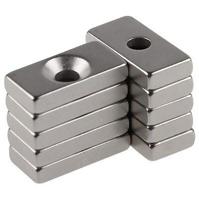 10 pcs Super Strong Block Magnets Silver Color Hole 4mm Rare Earth Neodymium N50