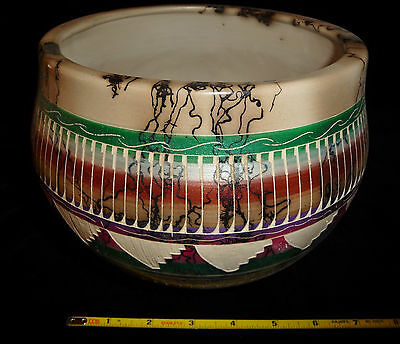 DINO: Authentic Navajo Etched HORSEHAIR POTTERY - By Joann Johnson, Signed