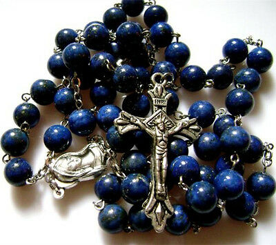 Natural Lapis lazuli bead Rosary & silver Cross crucifix catholic necklace Gift