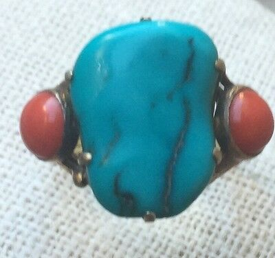 Antique Chinese Turquoise & Coral Gilt Silver Ring Size 8 3/4