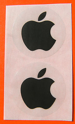 Apple logo stickers in BLACK, unusual, set of two, 40mm across - NEW