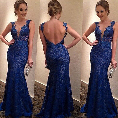 New Women's Straps Lace Backless Long Dress Mermaid Evening Formal Party Dresses