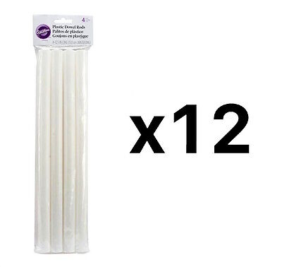 "Wilton Dowel Rods White 4 Pack Hollow Plastic 12.75"" Length X 0.75"" D (12-Pack)"