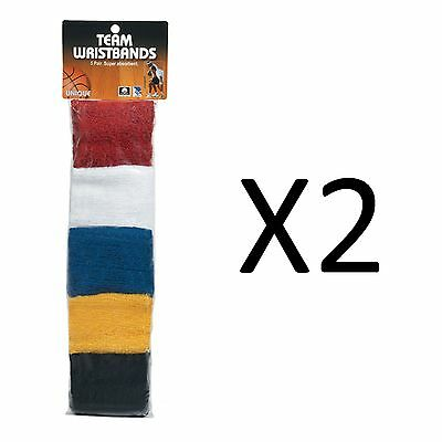 Unique Sports Team Wristbands Basketball Leagues Multi Color 5 Pairs (2-Pack)