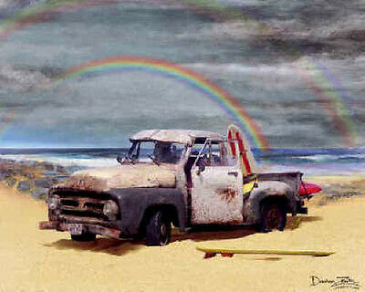 Ford Pickup Truck Art Print Poster ~ 1953 F-100 on beach with rainbow