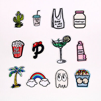 12pc Embroidered Sew Iron on Patch Badge Cartoon Cloud Shape Bag Fabric Applique