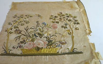 Early American Embroidered Naïve Still Life On Silk Ss407