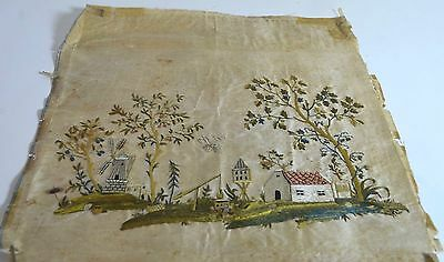 Early American Embroidered Naïve Landscape Scene On Silk Ss406