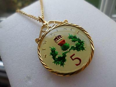 Vintage Enamelled Five Pence Coin 1969 Pendant & Necklace. Great Birthday Gift