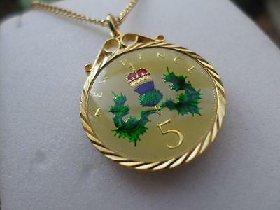 Vintage Enamelled Five Pence Coin 1968 Pendant & Necklace. Great Birthday Gift