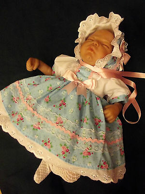 Dream Baby Blue & Pink Floral Dress & Bonnet Nb 0-3 6-12 Months Or Reborn Dolls