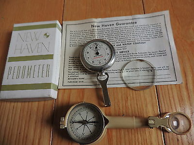 Vintage New Haven Pedometer w/ Box Compass (a109)