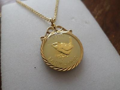 Vintage Enamelled Farthing Coin 1939 Pendant & Necklace. Great Birthday Gift