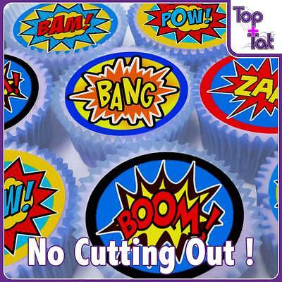 Pre-Cut 24 X Super Hero Action Pop Art Party Cake Wafer  Paper Toppers Birthday