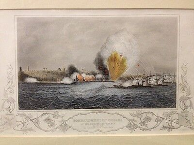 Antique c1854 Engraving Crimean War - Bombardment Of Odessa By English & French