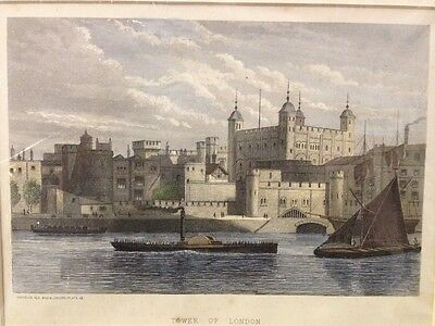 Antique Engraving c1870s London - Tower Of London - Cassell - Hand Coloured