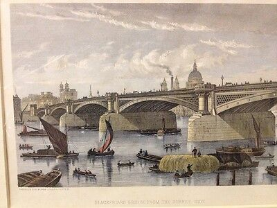 Antique Engraving c1870s Blackfriars Bridge Surrey Side By Cassell Hand Coloured