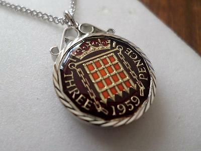 Vintage Enamelled Threepence Coin 1959 Pendant & Necklace. Great Birthday Gift