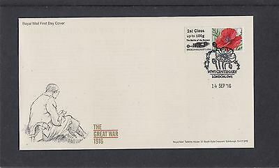 GB 2016  Post & Go Poppy Battle of Somme 1st stamp A12 FDC London SW1 poppy pmk