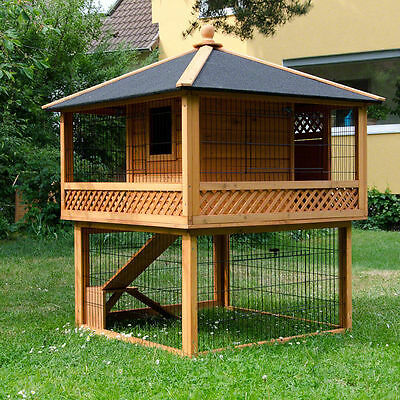 Rabbit Guinea Pig Hutch House Cage Wooden Deluxe Luxury Large Animal