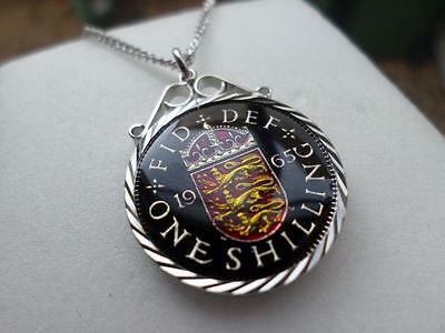 Vintage Enamelled One Shilling Coin 1965 Pendant & Necklace. Anniversary Gift